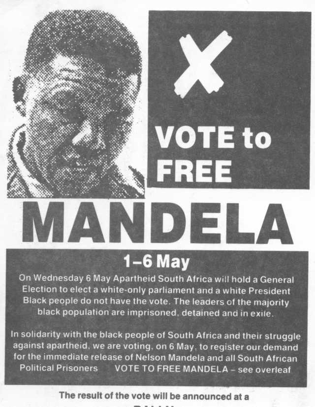 Vote Mandela postcard, May 1987 (Source: Gavin Brown)