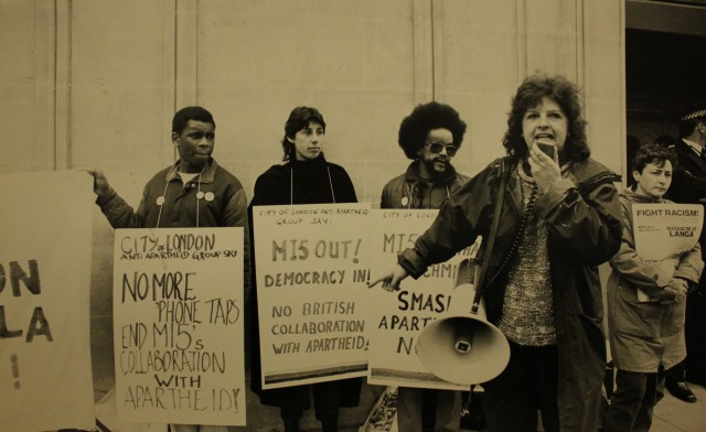 Carol Brickley speaks at City Groups protest against MI5 phone tapping, 1985 (Source: City Group)