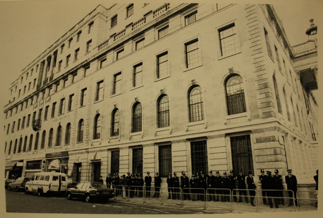 A heavy police presence on Duncannon Street, date unknown (Source: City Group)