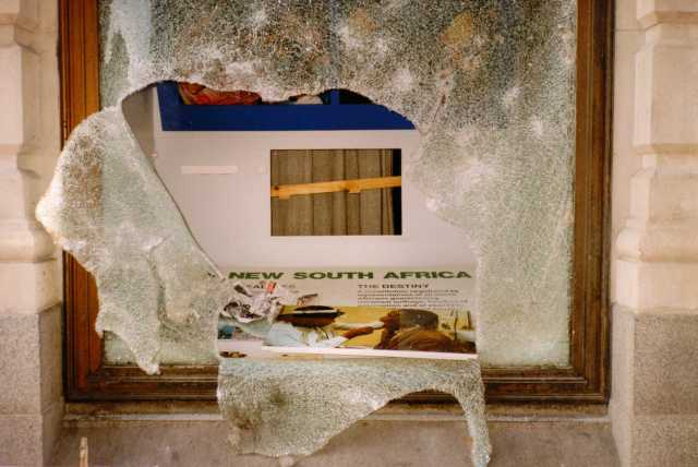 Damage to the South African Embassy, 31 March 1990 (Source: anonymous donor)