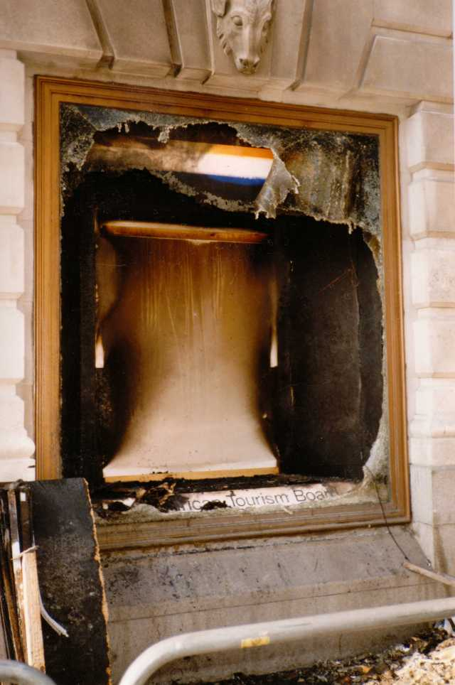 Fire damage to South African Embassy tourist displace, 31 March 1990 (Source: anonymous donor)