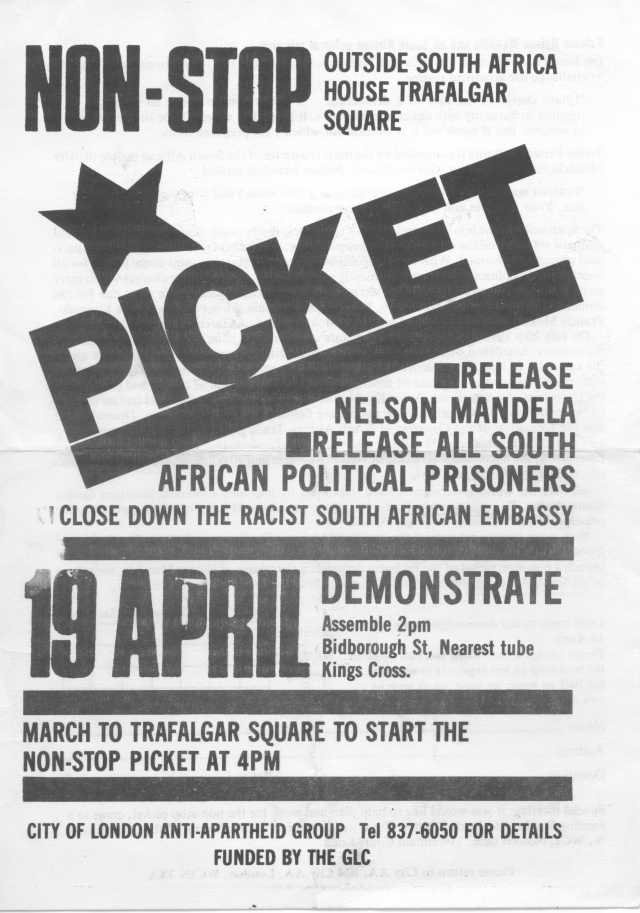 Leaflet for the launch of the  Non-Stop Picket, 19 April 1986 (Source: City Group)