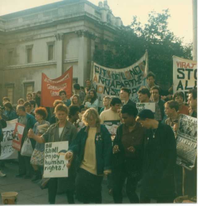 A Friday Rally on the Non-Stop Picket, May/June 1987 (Source: Gavin Brown)