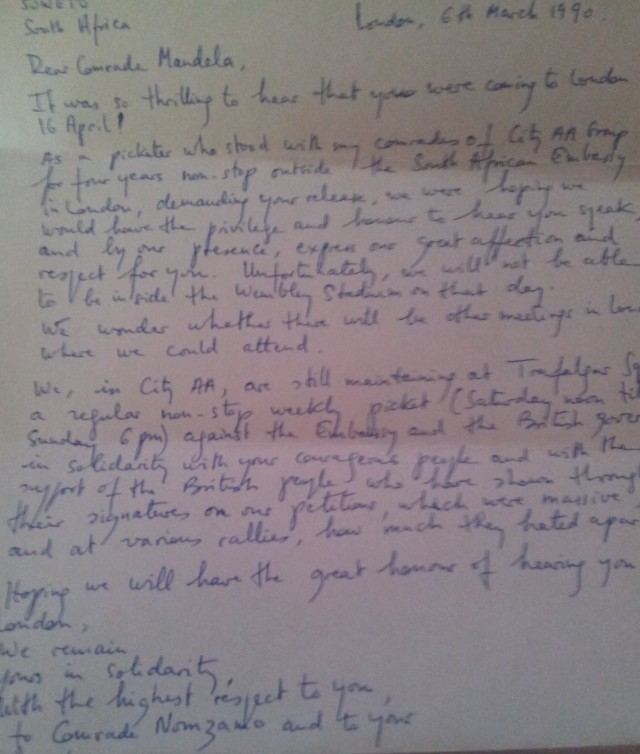 Letter from Colette Levy to Nelson Mandela, 6 March 1990 (Source: Colette Levy)