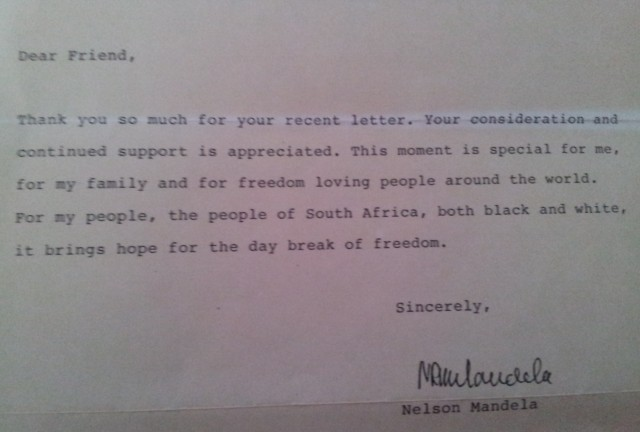 Letter from Nelson Mandela to Colette Levy, 30 April 1990 (Source: Colette Levy)