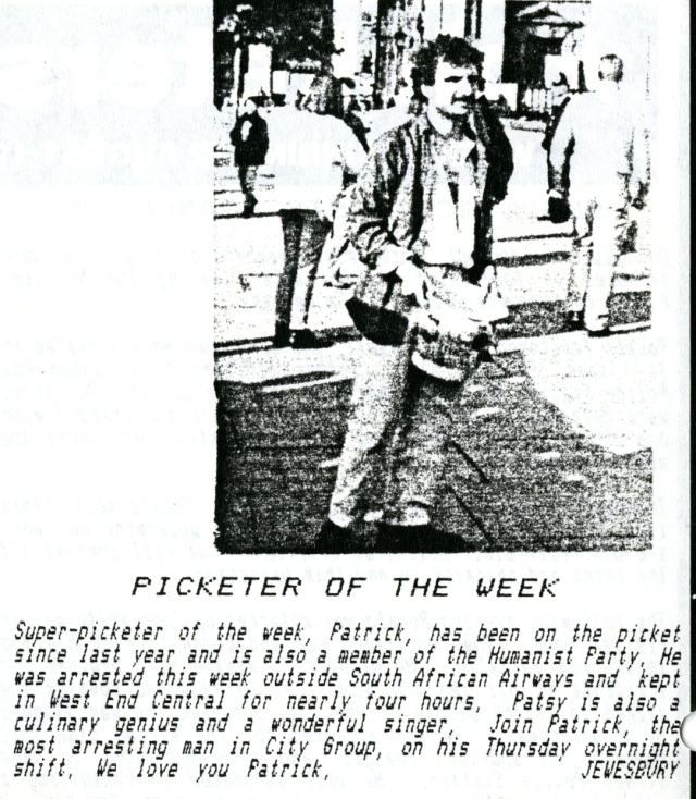 Patrick, Picketer of the Week, 12 August 1988 (Source: City Group)