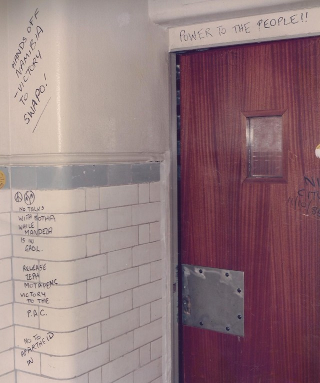 Police evidence of activist graffiti, 1985