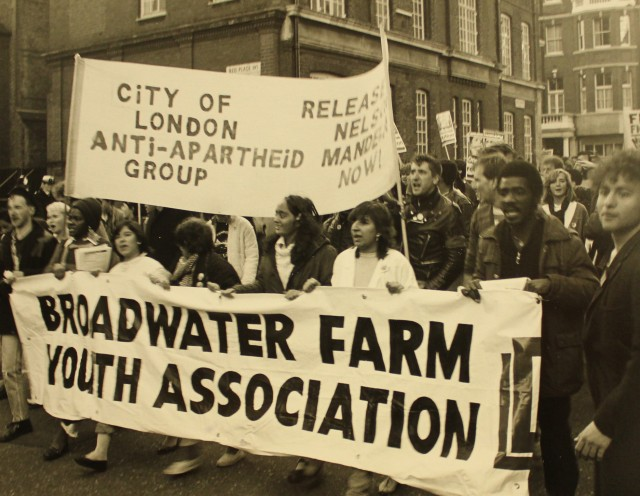 Broadwater Farm Youth Association march against apartheid (Source: City Group)