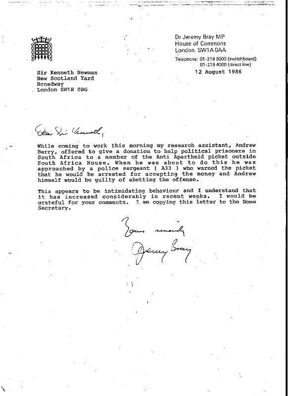 Letter from Jeremy Bray MP to Sir Kenneth Newman (Source: City Group)