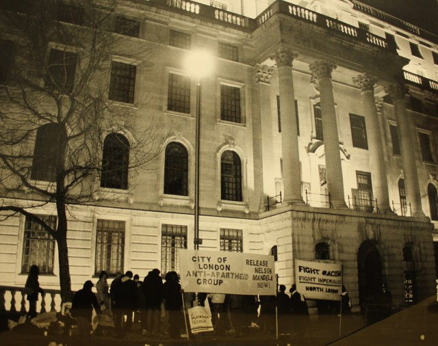 Picketing South Africa House at night (Source: City Group)