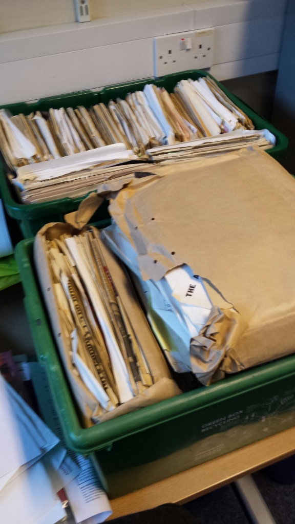 The boxes of Steve Kitson's papers.