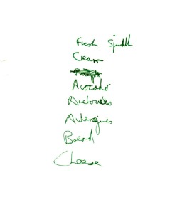 A shopping list written on the back of a Non-Stop Picket rota (Source: Steve Kitson's papers)