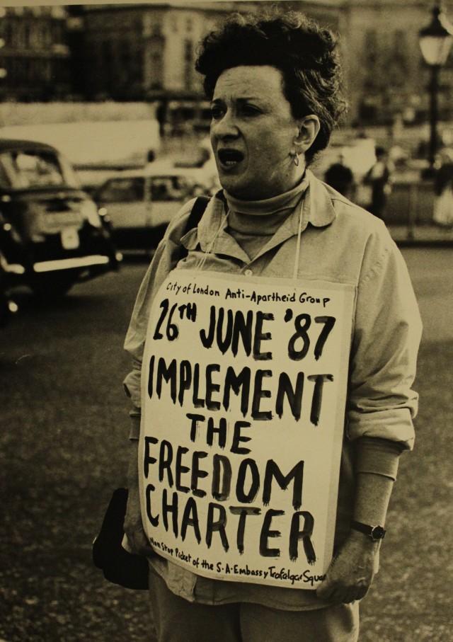 Norma Kitson protesting against apartheid, June 1987