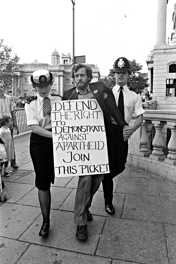 Jeremy Corbyn MP arrested, 22 July 1984 (Photographer: Rob Scott)