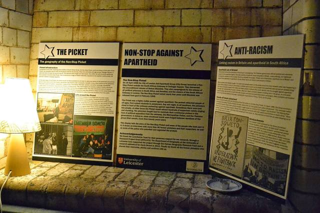 Displaying the history of the Non-Stop Picket at Leicester People's University (Photographers: Ambrose Musiyiwa and Emma Racz)