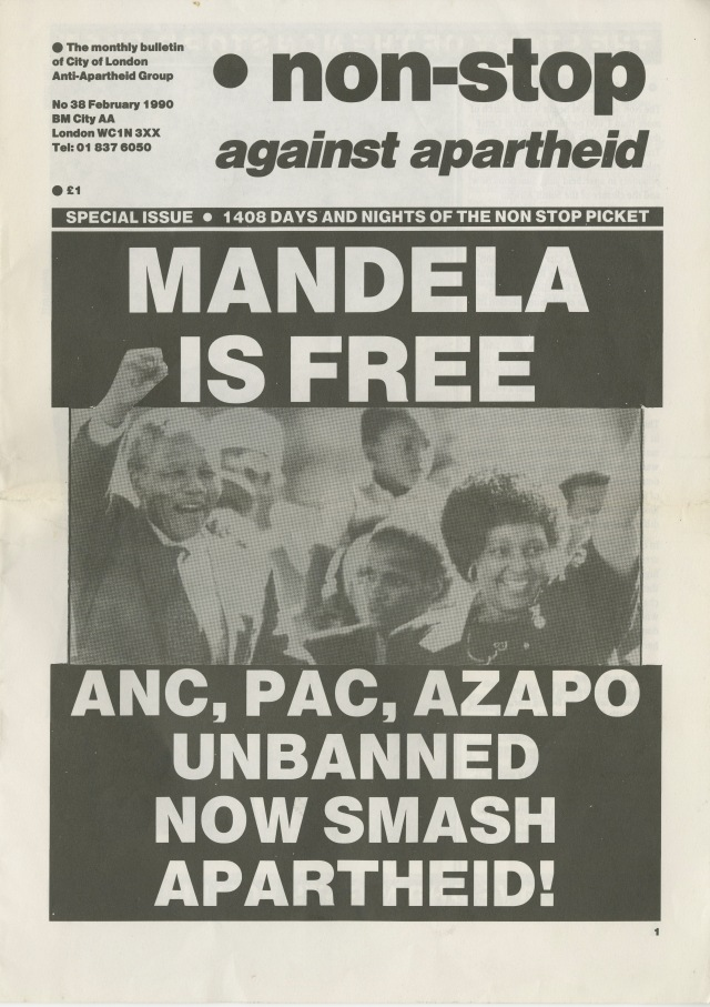 Celebratory issue of Non-Stop Against Apartheid issued on 24 February 1990 (Source: City Group)
