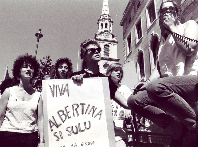 Women picketers celebrate South African Women's Day, 1988 (Photographer: Jon Kempster)